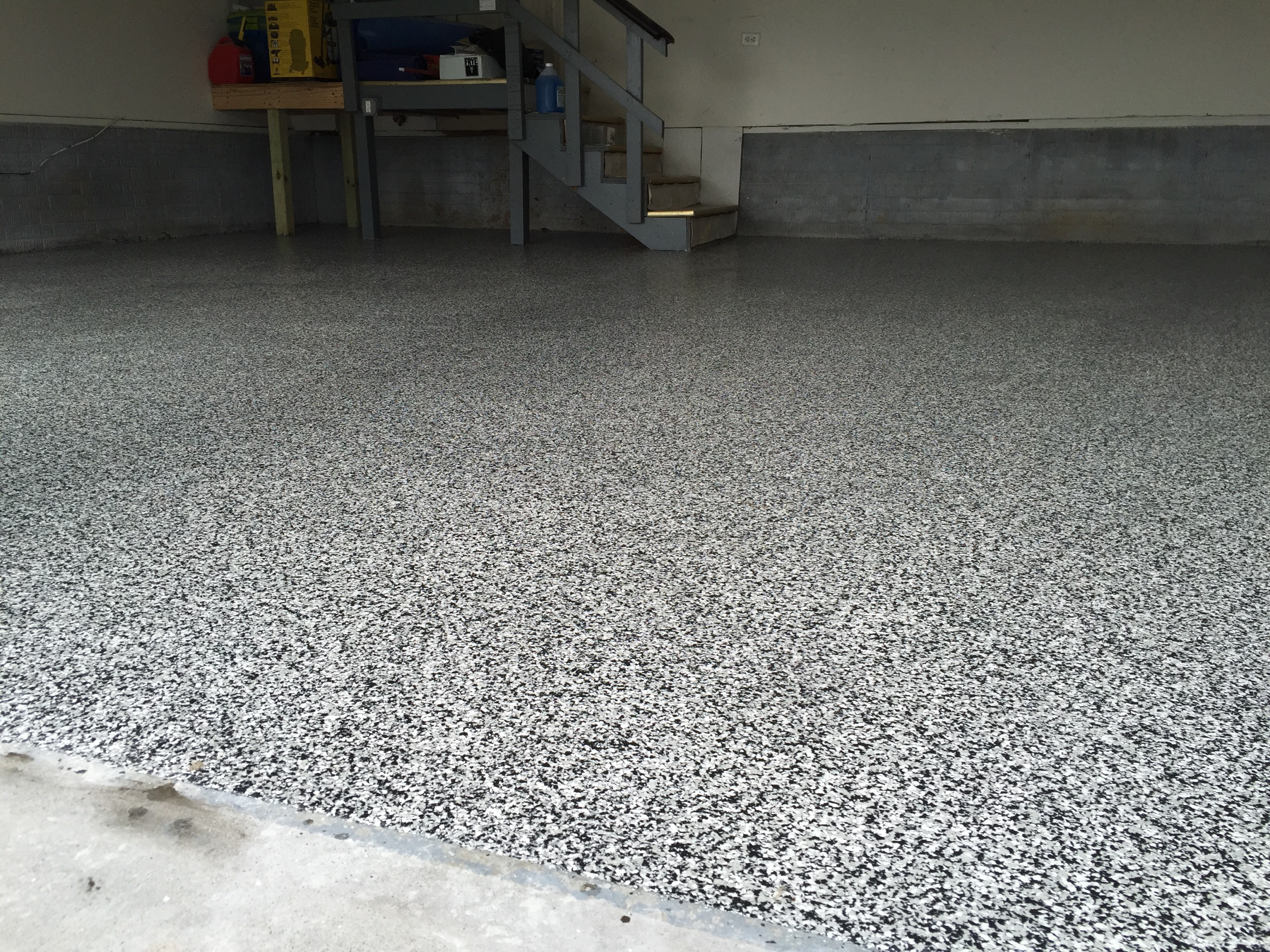 Epoxy garage floor with polyaspartic clear coat garage for At floor or on floor